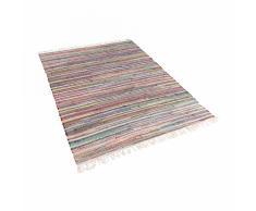 Tappeto multicolore chiaro in cotone con fronde - 160x230cm - DANCA