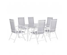 Set giardino alluminio grigio tavolo + 6 sedie CATANIA