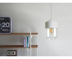 Lampada da soffitto nera in vetro e metallo bianco - JURUA