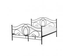 Letto design moderno in metallo nero - Letto matrimoniale in ferro - 160x200cm - LYRA
