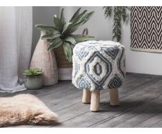 Sgabello in lana bianco/blu AGRA