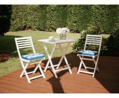Set da balcone in legno bianco - Tavolo con 2 sedie - Cuscini bianco-azzurro - FIJI
