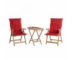Set da balcone - Tavolo e due sedie con cuscini color terracotta chiaro - RIVIERA