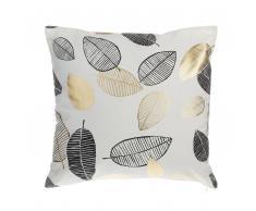 Cuscino decorativo a foglie 45 x 45 cm nero/oro