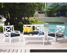 Panchina da giardino bianca con cuscino blu BALTIC