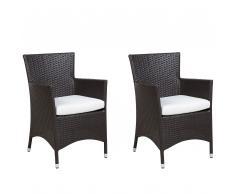Set di 2 sedie da giardino in simil rattan in color marrone ITALY