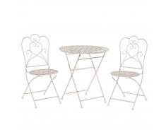 Set da balcone di un tavolo e due sedie metallo beige/bianco sporco TRIESTE