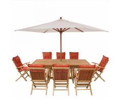 Set di tavolo e sedie da giardino in legno - Tavolo - 8 sedie con cuscini - Ombrellone - Color terracotta - JAVA