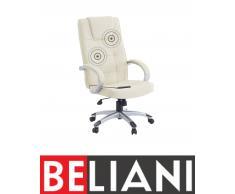 Poltrona relax da ufficio in pelle sintetica beige gambe argento DIAMOND II