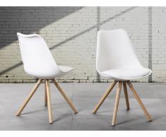 Sedia imbottita bianca - Sedia di design da pranzo - DAKOTA