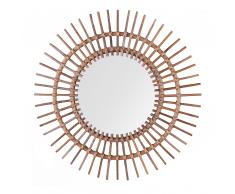 Specchio da muro in rattan color beige sabbia ø 76 cm STENEN