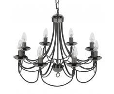 Lampadario candeliere a 8 punti luce in color nero TEESTA
