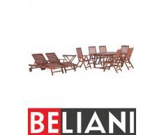 Set da giardino in legno di acacia - Tavolo ovale, tavolino, 2 lettini e 6 sedie - TOSCANA
