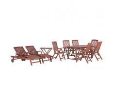 Set da giardino in legno con tavolo ovale 2 lettini e 6 sedie TOSCANA
