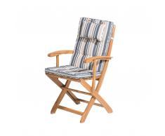 Sedia da giardino in legno con cuscino a strisce blu-beige MAUI