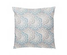 Cuscino decorativo a ornamenti 45 x 45 cm azzurro/grigio