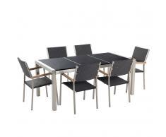 Set di tavolo e sedie da giardino in acciaio, granito e rattan - 180cm - Nero lucido - GROSSETO