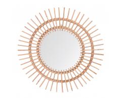 Specchio da muro in rattan color beige ø 76 cm STENEN