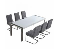 Set di tavolo e sedie da pranzo - Tavolo 220cm con 6 sedie - ARCTIC I
