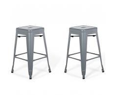 Set di 2 sgabelli da bar in metallo in color grigio 60 cm CABRILLO
