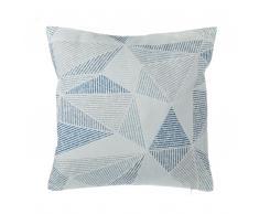 Cuscino decorativo motivo geometrico 45 x 45 cm azzurro/grigio