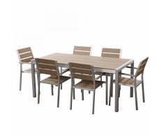 Set di tavolo e sedie da giardino in alluminio e poliwood marrone - VERNIO