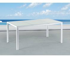 Tavolo da giardino in alluminio bianco - Piano in vetro bianco da 160cm - CATANIA