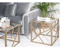 Tavolino basso color oro in vetro ORLAND