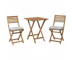 Set da balcone in legno marrone - Tavolo con 2 sedie - Cuscini grigio beige zigzag - FIJI