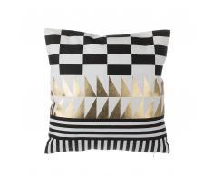Cuscino decorativo in cotone motivo geometrico 45 x 45 cm nero/oro