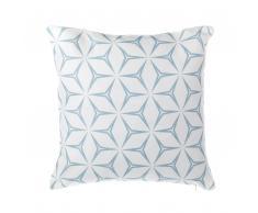 Cuscino decorativo design floreale 45 x 45 cm azzurro