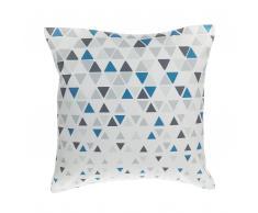 Cuscino decorativo a triangoli 45 x 45 cm blu/grigio