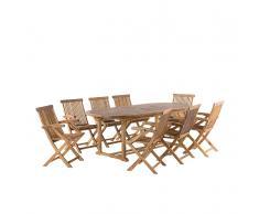 Set da giardino in legno - Tavolo ovale estensibile e 8 sedie - JAVA