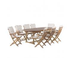 Set da giardino in legno - Tavolo ovale estendibile e 8 sedie con cuscini beige - JAVA