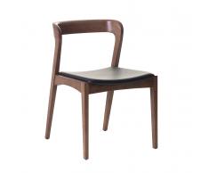 Sedia marrone in legno con seduta in pelle ASTORIA