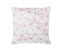 Cuscino decorativo in cotone motivo geometrico 45 x 45 cm rosa