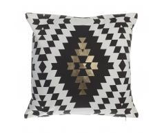 Cuscino decorativo in cotone a rombi 45 x 45 cm nero/oro