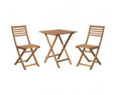 Set da balcone in legno marrone - Tavolo con 2 sedie - FIJI