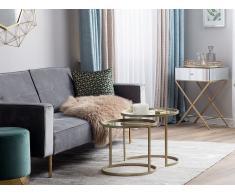 Set di 2 tavolini da soggiorno specchiato e oro ARIA