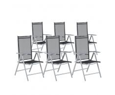 Set di 6 sedie da giardino in alluminio nero CATANIA