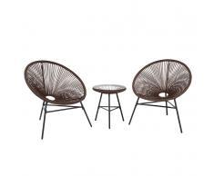 Set di 2 sedie marroni e tavolino da caffè stile spaghetti ACAPULCO