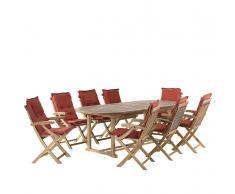 Set da giardino in legno - Tavolo ovale estendibile e 8 sedie con cuscini color mattone - JAVA