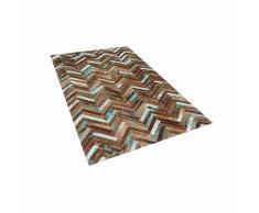Tappeto marrone beige blu patchwork in pelle - 80x150cm - AMASYA