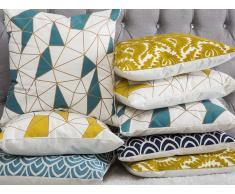 Cuscino decorativo in cotone motivo geometrico 45 x 45 cm blu