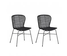 Set di 2 sedie da pranzo in rattan color nero ELFROS