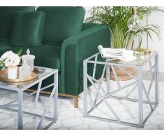 Tavolino basso color argento in vetro ORLAND