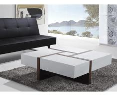 Tavolino da caffè con 4 cassetti color noce-bianco 100 x 100 cm - EVORA