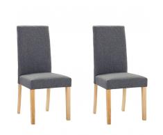 Set di 2 sedie da pranzo in tessuto grigio BROADWAY