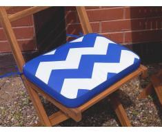 Cuscino per sedia FIJI - 29 x 38 x 5 cm - zigzag azzurro-bianco