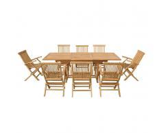 Set di tavolo e sedie da giardino in legno - Tavolo con 8 sedie - JAVA